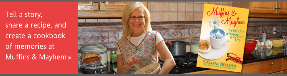 Suzanne in her kitchen making chocolate chip cookies. Click to visi her cookbook website.